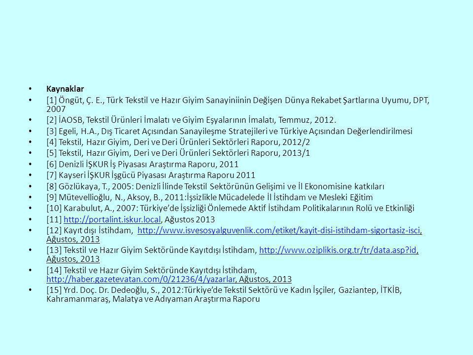Kaynaklar [1] Öngüt, Ç. E., Türk Tekstil ve Hazır Giyim Sanayiniinin Değişen Dünya Rekabet Şartlarına Uyumu, DPT, 2007.
